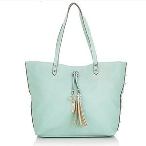 Jessica Simpson Mint Green Rodica Tote feather